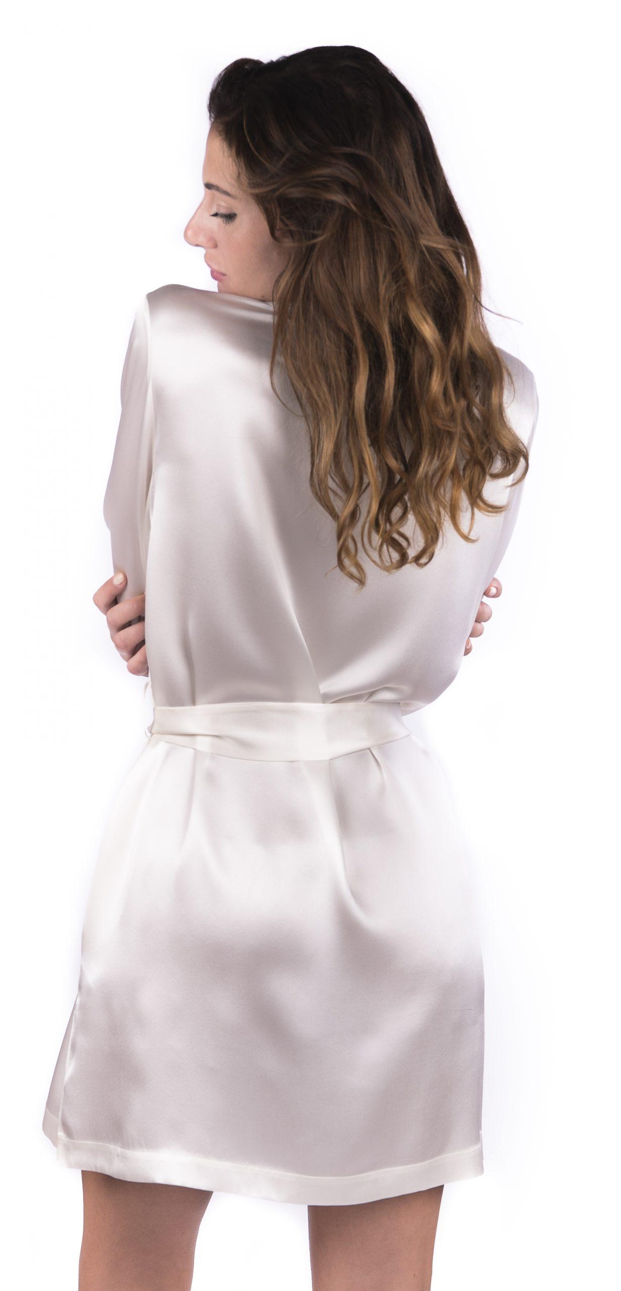 Completo corto da sposa camicia da notte mussola con kimono