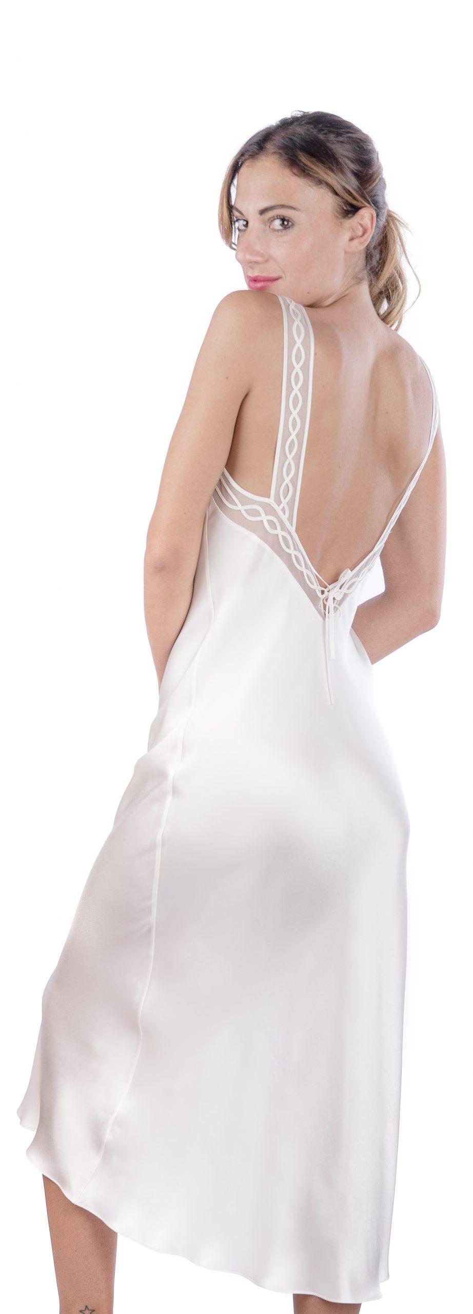 Completo lungo da sposa camicia da notte e vestaglia con tulle