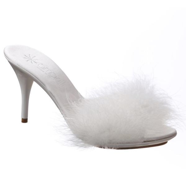 Pantofoline da sposa alte avorio con cigno