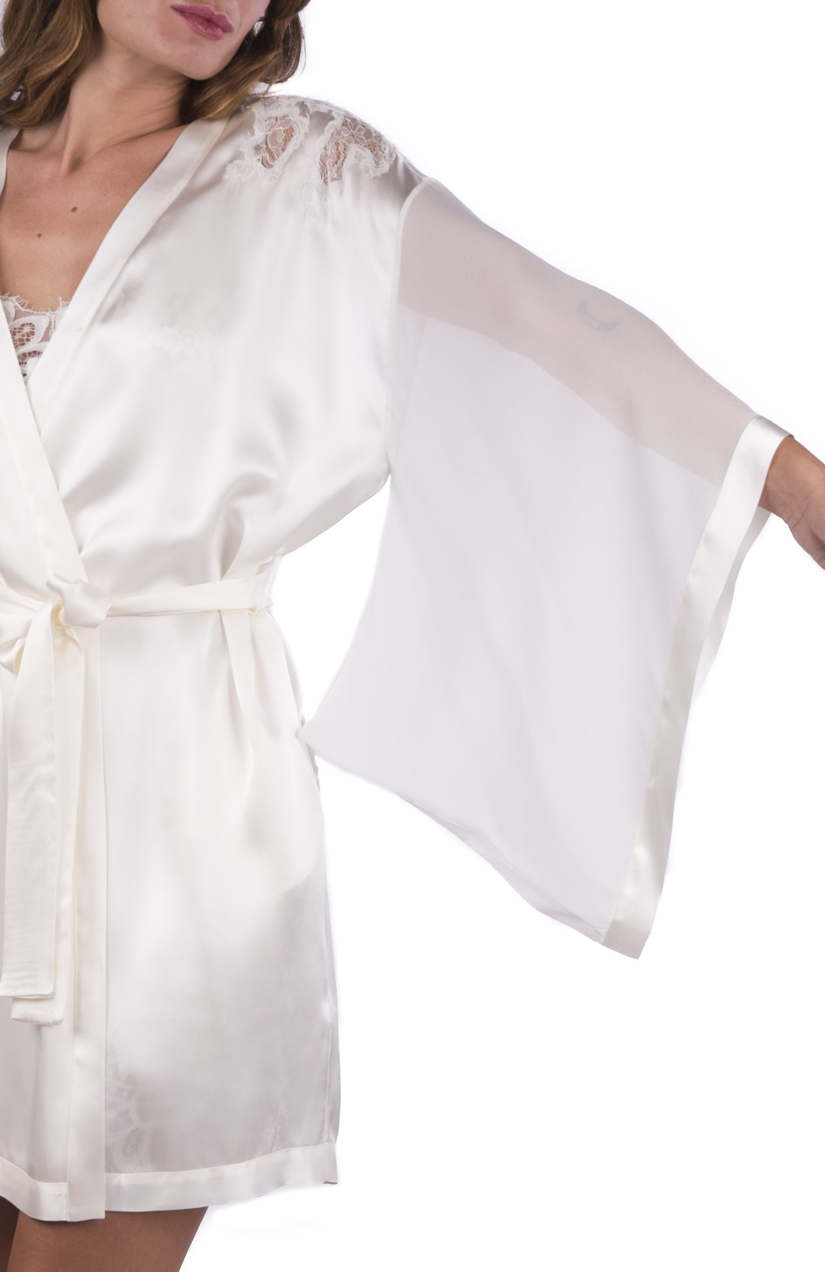Completo corto da sposa camicia da notte con pizzo e kimono