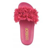 sandali slide donna mare fascia con fiori in tessuto fucsia
