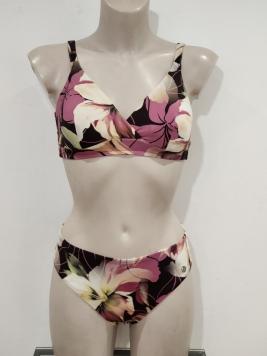 Outlet - bikini coppe imbottito incrociato rosa antico fantasia