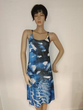 Promozione - abito senza manica blue fantasia striata