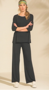 Pantalone donna nero largo tinta unita