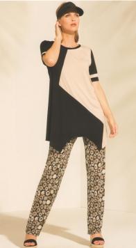 Pantalone donna fantasia beige su fondo nero