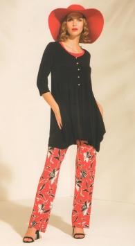 Pantalone nero con fantasia fiori marrone e bianco