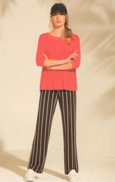 Pantalone nero riga rossa