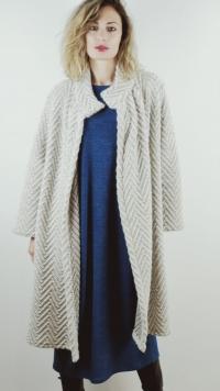Cappottino jacquard avorio grigio in lana