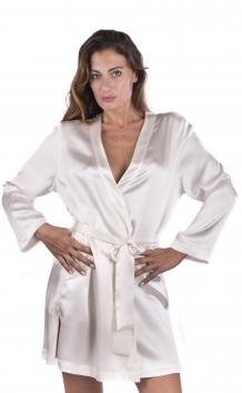 Kimono corto da sposa liscio manica lunga