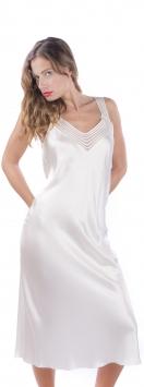 Camicia da notte di seta con inserti di tulle