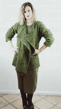 Giacca verde in lana cotta