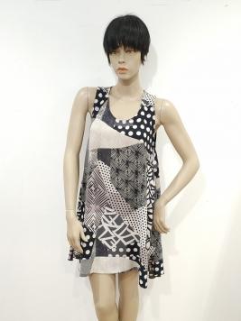 Promozione - abito trapezio senza manica nero fantasia patchwork