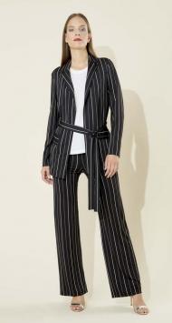 Pantalone nero gessato bianco