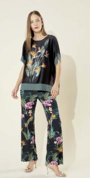 Pantalone nero stampa fiori e foglie