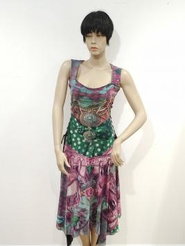 Promozione - abito senza manica fantasia rosa e turchese
