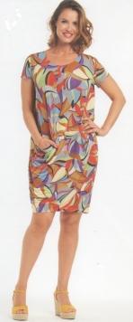 abito donna corto manica corta blue stampa geometrica