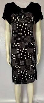 abito donna corto manica corta nero pois bianco