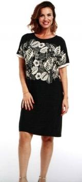 abito donna corto manica corta nero stampa floreale bianco