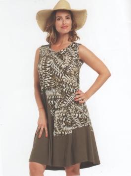 abito donna corto senza manica stampa geometrica