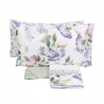 completo lenzuola matrimoniale bianco fiori rosa
