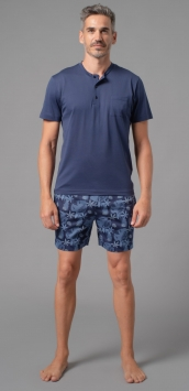 pigiama uomo corto estivo serafino unica tinta blu