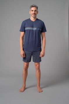 pigiama uomo corto girocollo unica tinta blu