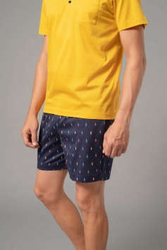 pigiama uomo corto serafino unica tinta giallo e blu