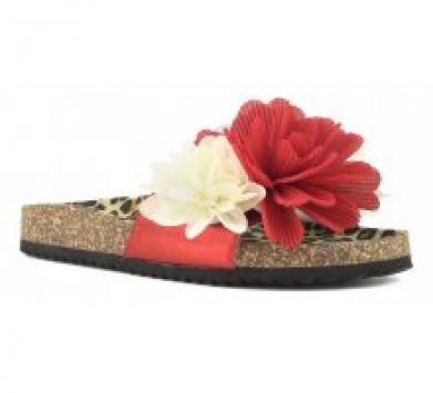 sandali slide donna mare fascia con fiori in tessuto rosso e bianco con soletto maculata